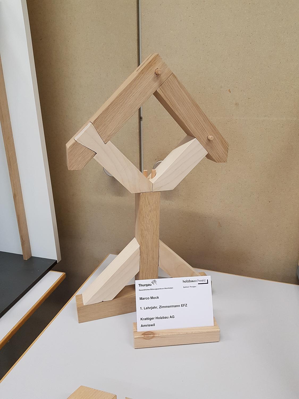 Modellwettbewerb 2019 GBZ Weinfelden: Modell «Verbindungen» von Marco Mock l Krattiger Holzbau AG Amriswil