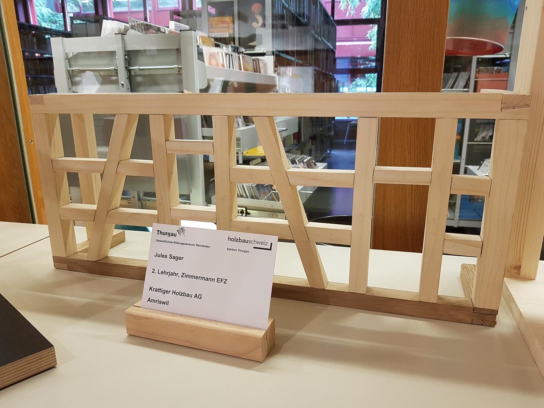Modellwettbewerb 2019 GBZ Weinfelden: Modell «Riegelwand» von Jules Sager l Krattiger Holzbau AG Amriswil