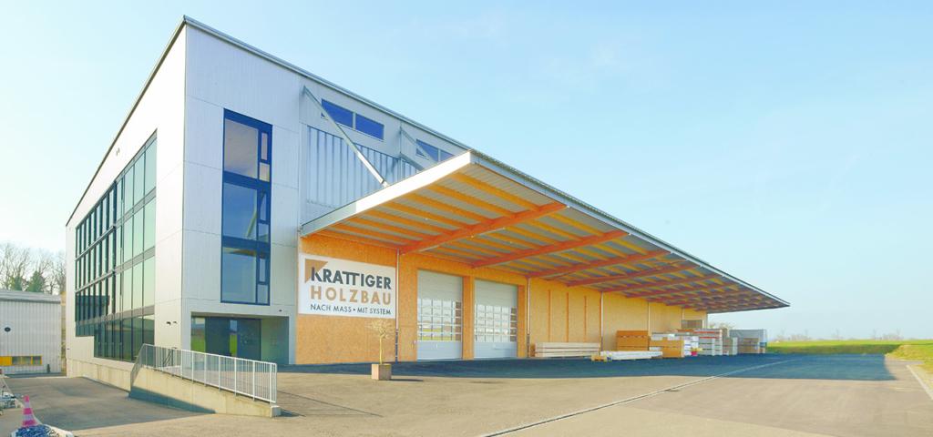 Elementproduktionshalle «Schwarzland» : Bürotrakt | Krattiger Holzbau AG Amriswil